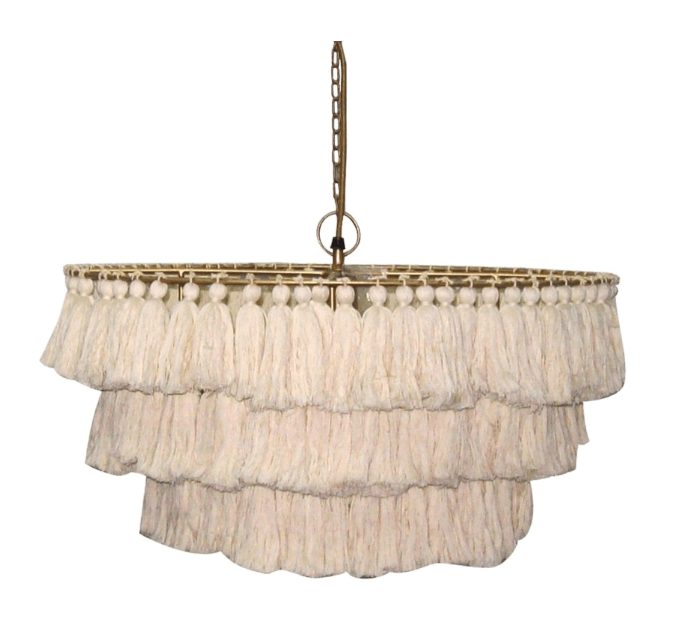 2019 fringe home design trend - tassel fringe hang lamp