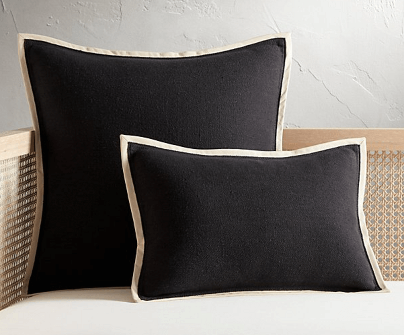 contrast piping pillows - 2019 home design trend
