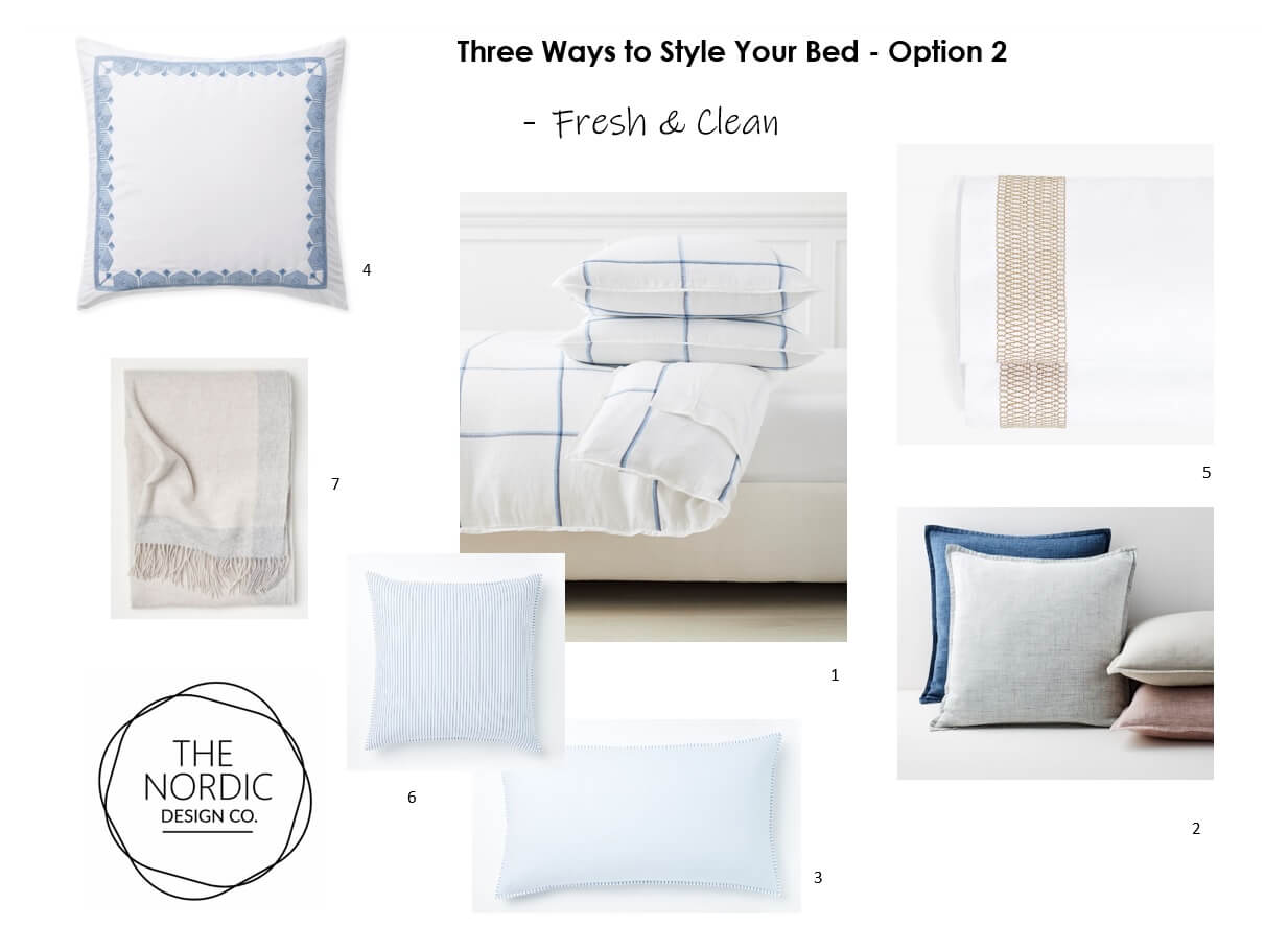 3 Ways to Style your Bed - Option 2 - Fresh & Clean Style Bed Linens