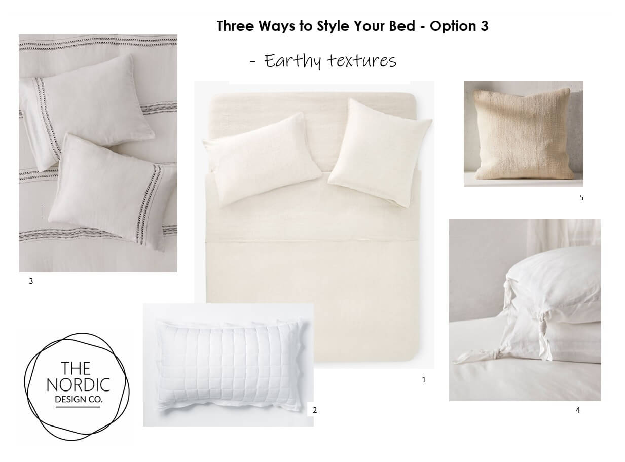 3 Ways to Style your Bed - Option 3 - Earthy Texture Bed Linen Style
