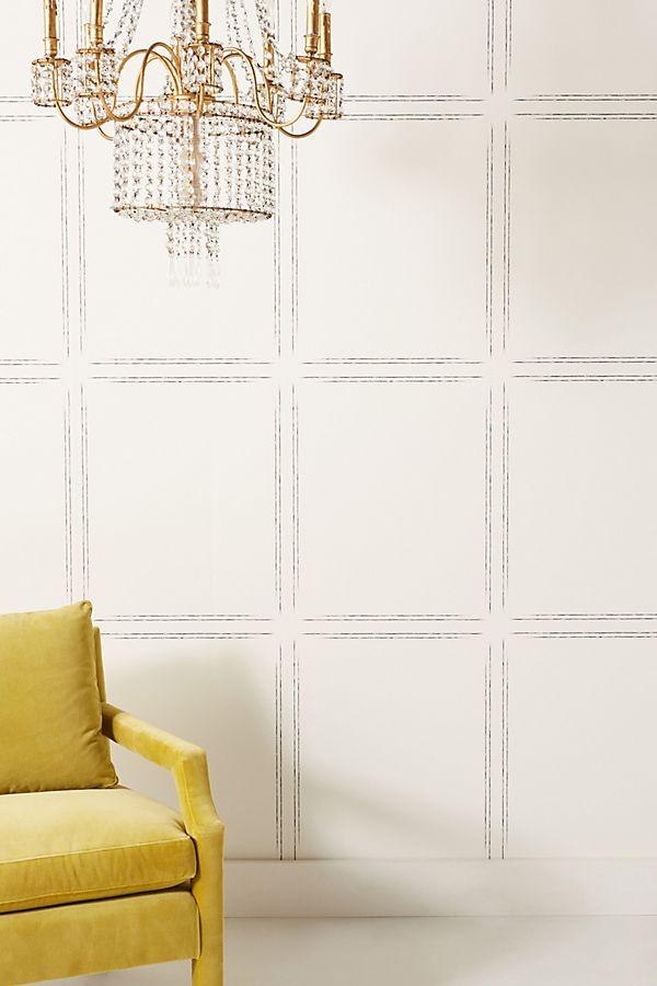 Magnolia white checkered wallpaper