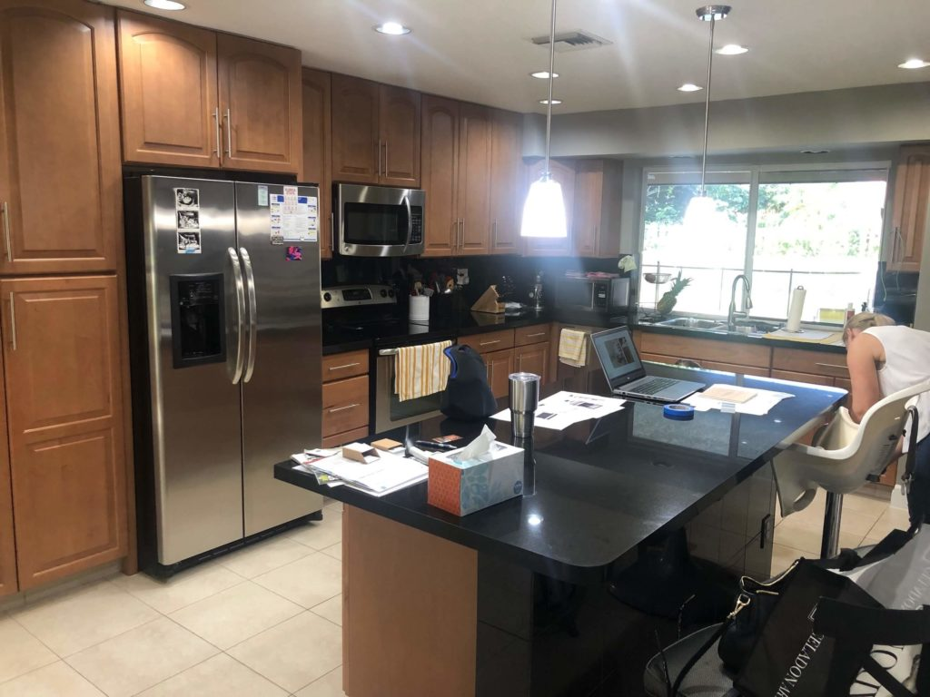 south florida kitchen renovation - before black and brown